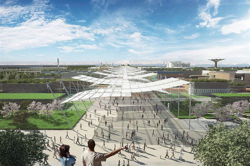 Project: Expo Milan 2015. Master plan developed by Jacques Herzog, Ricky Burdett, Stefano Boeri and William McDonough. Location: Milan. Image courtesy of Expo Milan 2015.