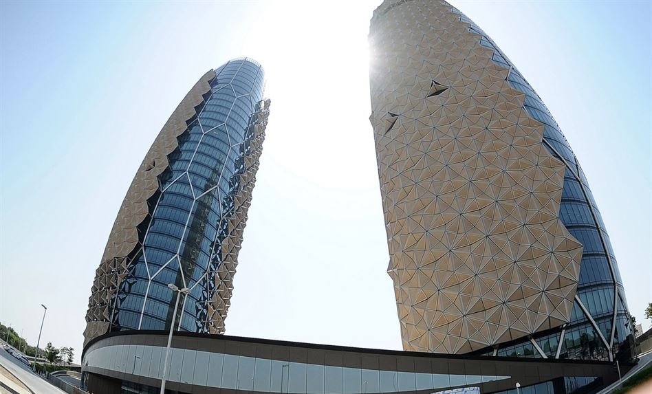 Al Bahar Towers are seen in Abu Dhabi