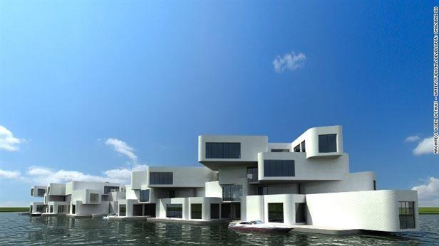 המצודה, מתחם דירות צף על גבי תשתית בטון צפה. כביש צף מחבר את המתחם אל החוף, כך התושבים יכולים להחנות את רכבם באתר
