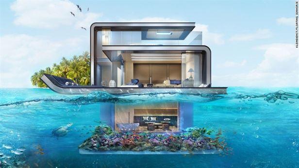 וילות צפות, בנות שלוש קומות כולל קומה שלמה שקועה מתחת לים