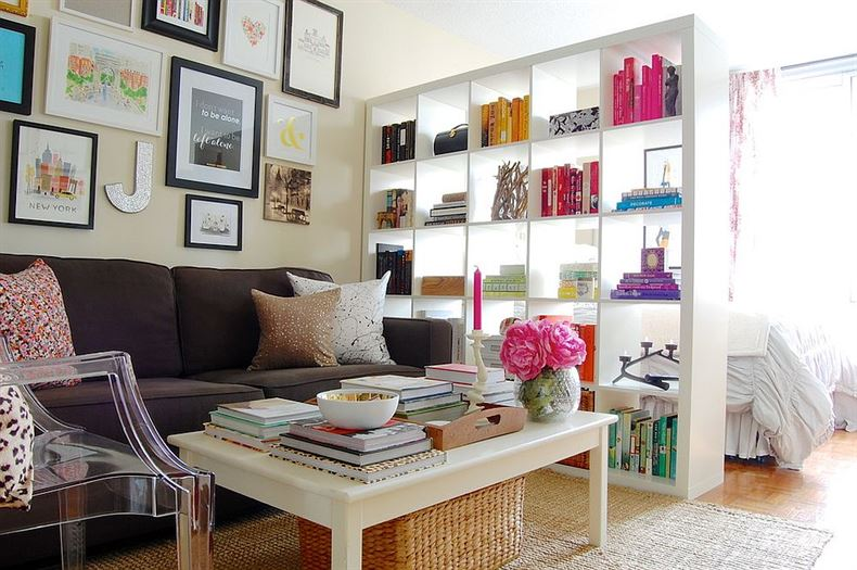 Expedit-bookshelf-from-IKEA-used-as-a-room-divider-in-the-shabby-chic-home