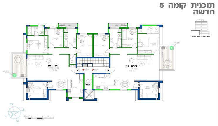 קומת המגורים החדשה כוללת 2 דירות 5 חדרים מרווחות