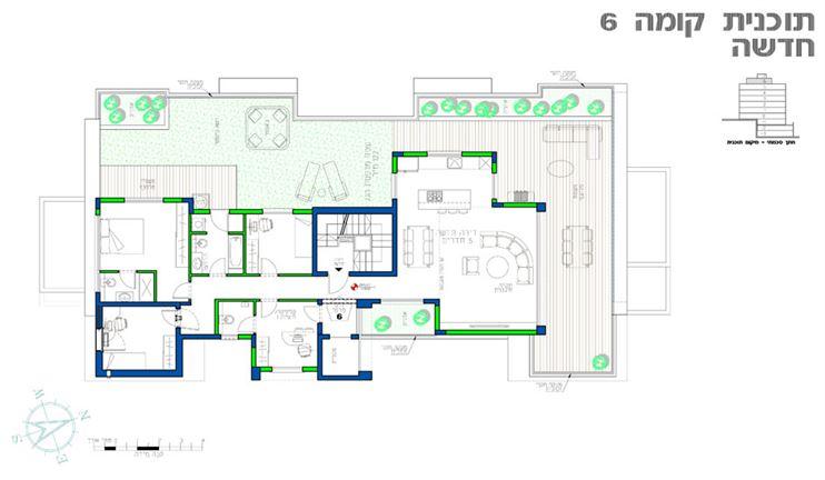 דרך מבואת מעלית פרטית נכנסים לדירת הפנטהאוס הכוללת מרפסת רחבת ידיים עם אדניות בנויות ופטיו שיכולו להכיל אפילו עצי פרי ונוי.