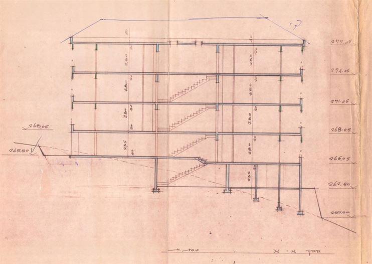 חתך המבנה הקיים כולל קומת מחסנים חלקית שבתכנון החדש תהפוך לדירת גן יוקרתית.