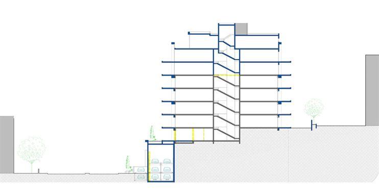 תכנון הקומות המקורי כולל 2 דירות 4 חדרים בקומה, המרפסות של אז נסגרו כולן.