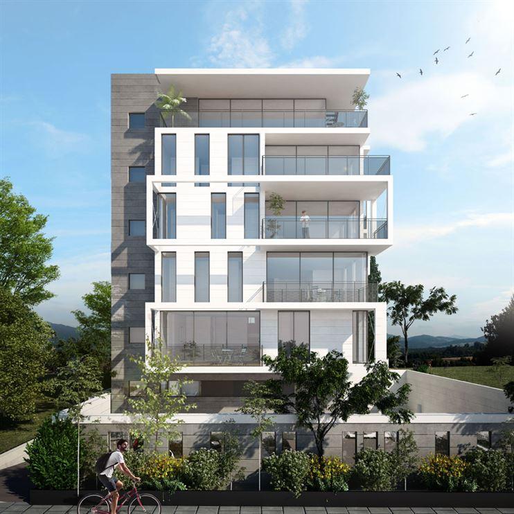 הדמית החזית לרחוב - קומפוזיציה של פתחי אור לדירות המגורים