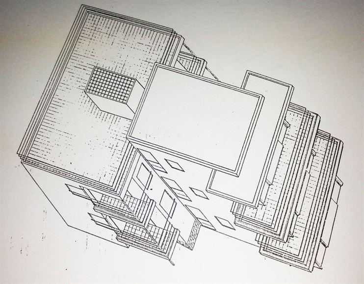 """איזומטריית המבנה המקורי  ע""""פ מנקס אדריכל הבאוהאוס גגונים דקיקים ומעקות מתכת."""