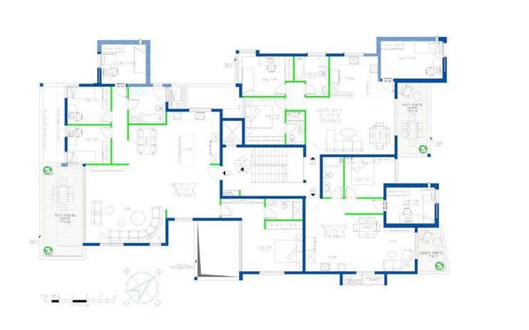 הקומה הטיפוסית החדשה כוללת מגוון של דירות 4,3 ו-5 חדרים.