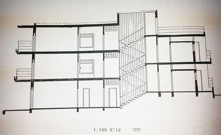 חתך המבנה המקורי 5 מפלסים לשני צידי גרם המדרגות היחודי