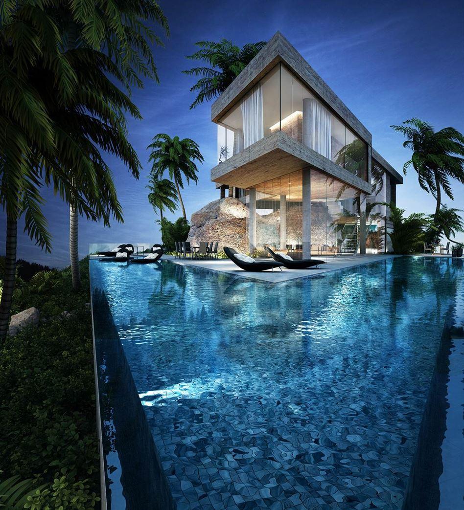 beautiful-infinity-pool-at-night