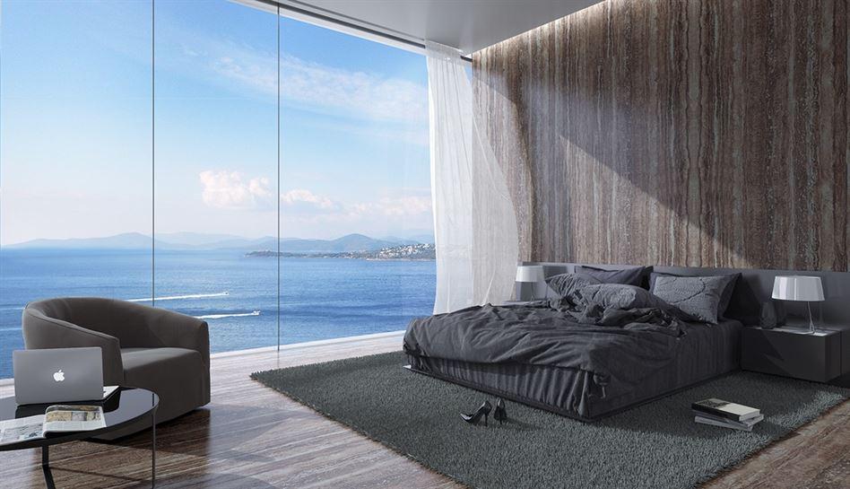 dark-bedding-in-wood-clad-bedroom