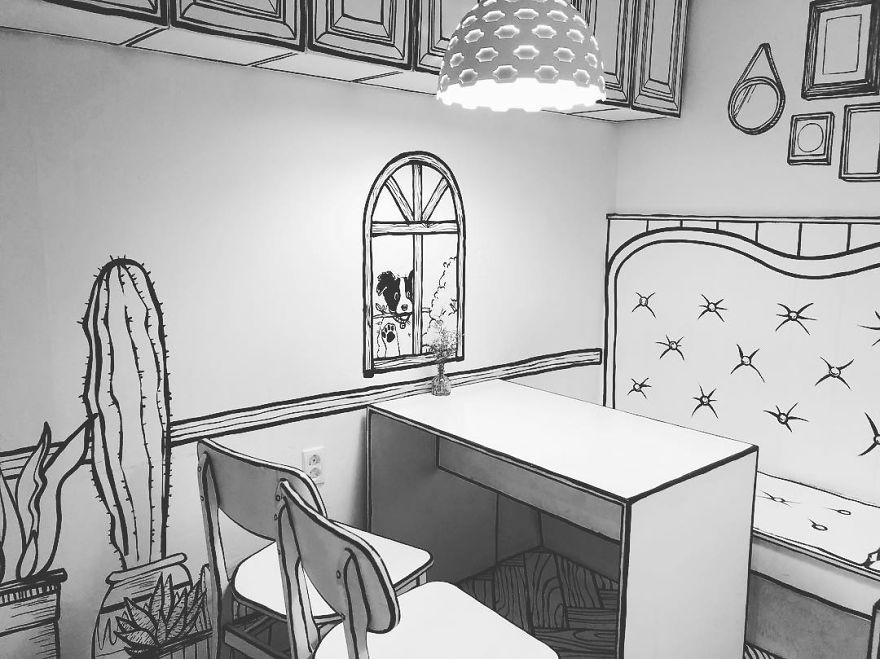 בית הקפה יוצא הדופן הזה בסיאול, מארח אתכם בתוך קריקטורה