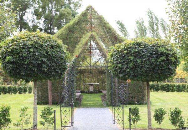 כנסייה הבנויה כולה מעצים ירוקים ומלבלבים