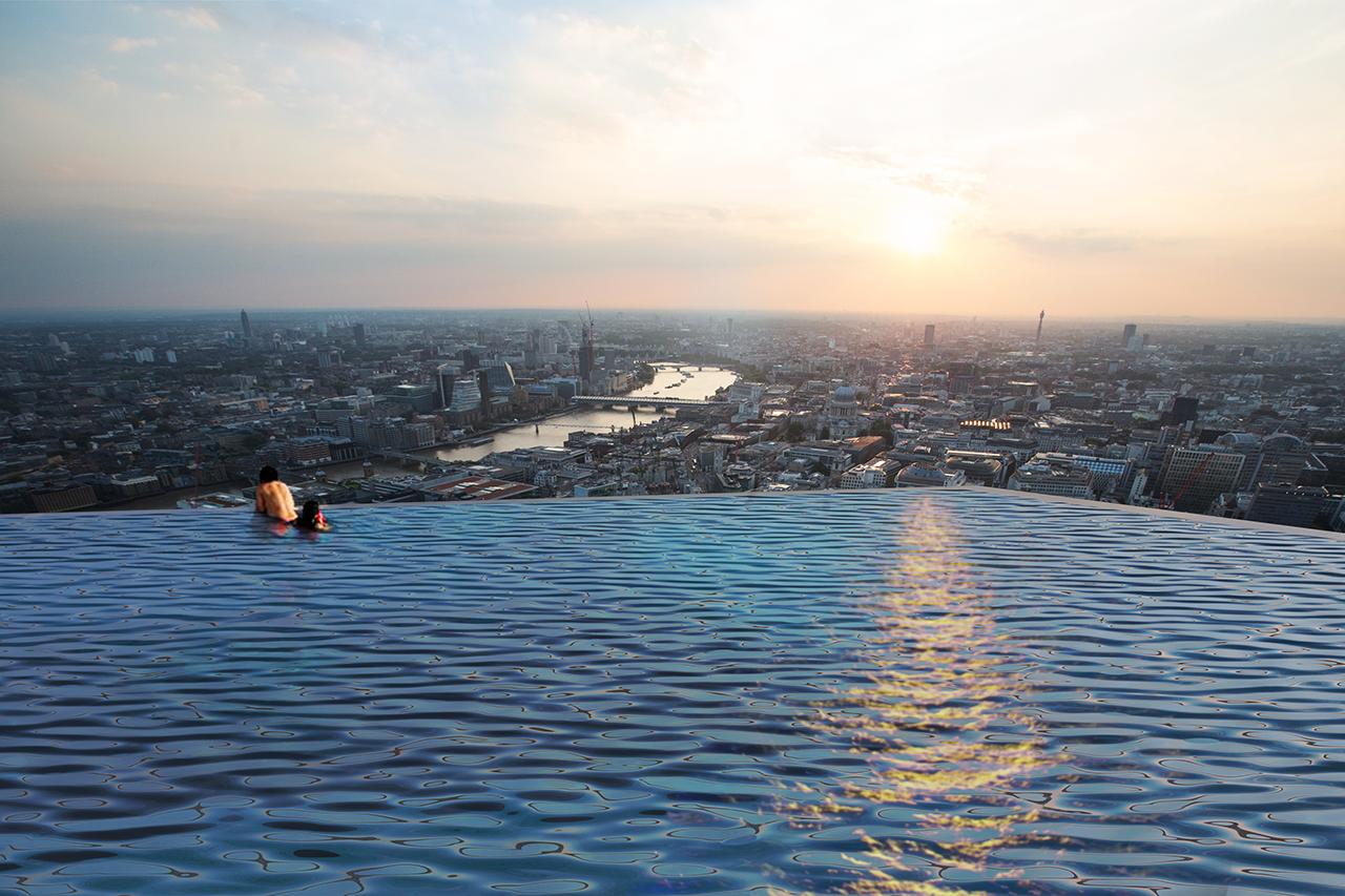 בריכת אינסוף על גג גורד שחקים בלונדון