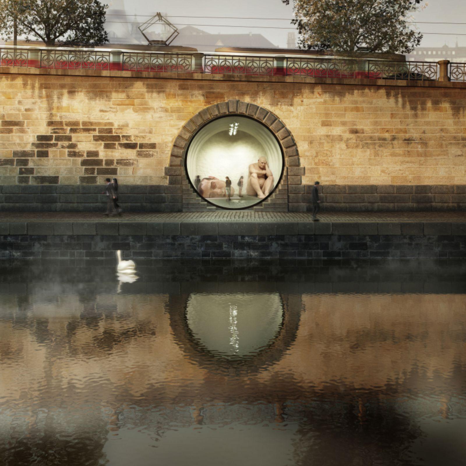 חללים עגולים בתוך הקיר ההיסטורי בפראג, התמלאו בחיים ובתרבות
