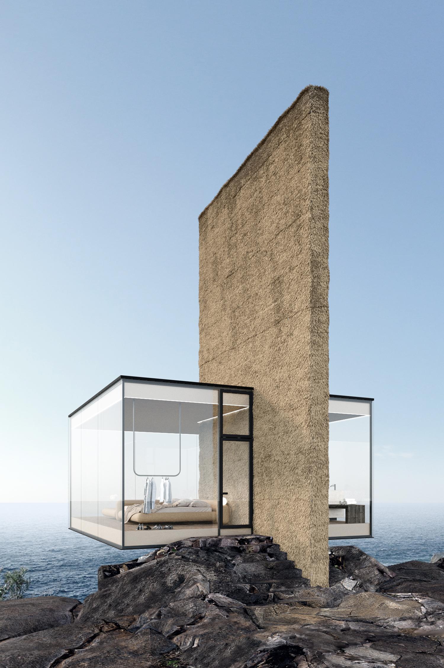 בית נופש מינימליסטי מזכוכית, מרחף בקצה צוק מול הים