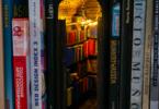 פינות מיניאטוריות בין ספרים שעל מדף