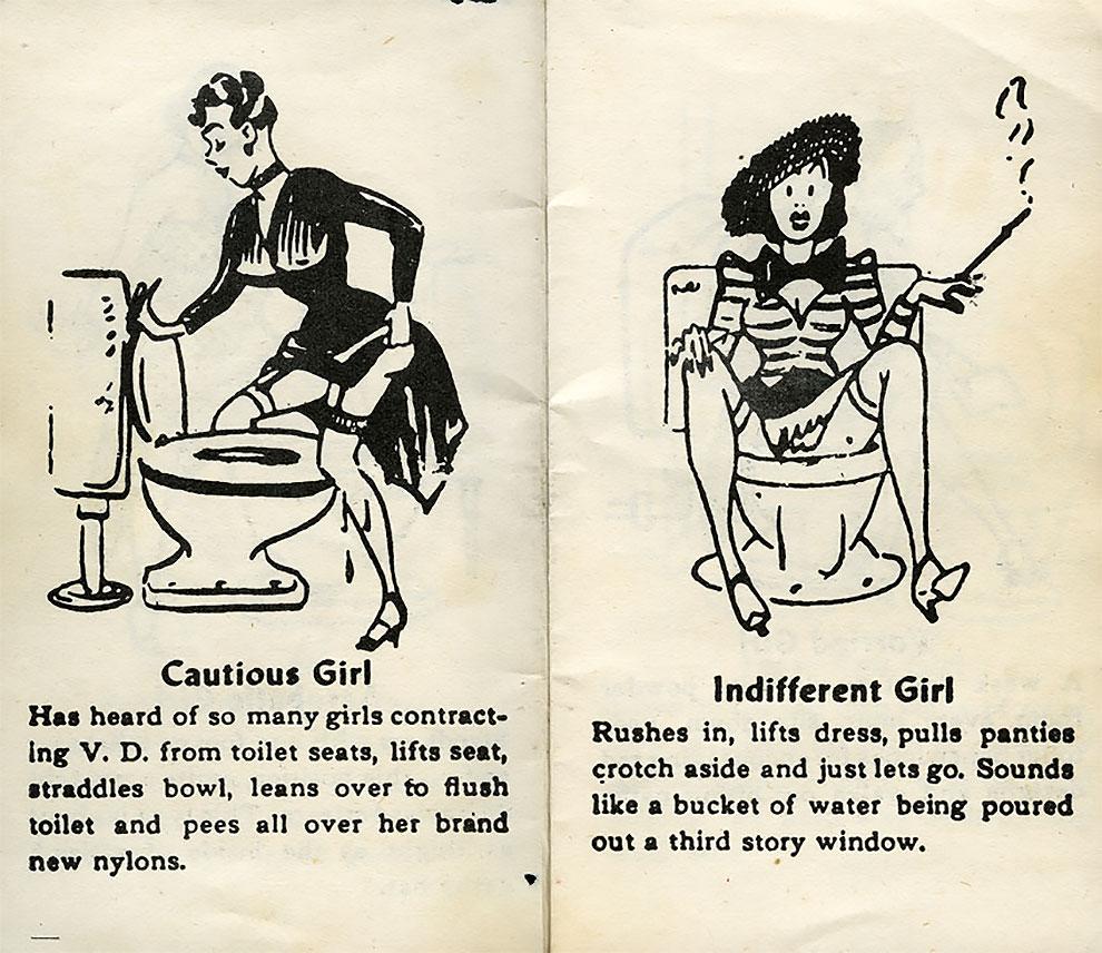 איך נשים וגברים משתינים, בחוברת קומיקס משנות ה-50